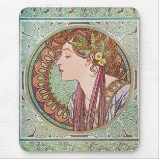 Alphonse Mucha Laurel Art Nouveau Mousepad