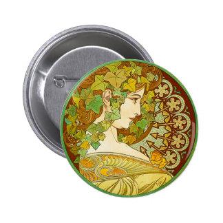 Alphonse Mucha Laurel Button