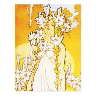 Alphonse Mucha Lily Postcard