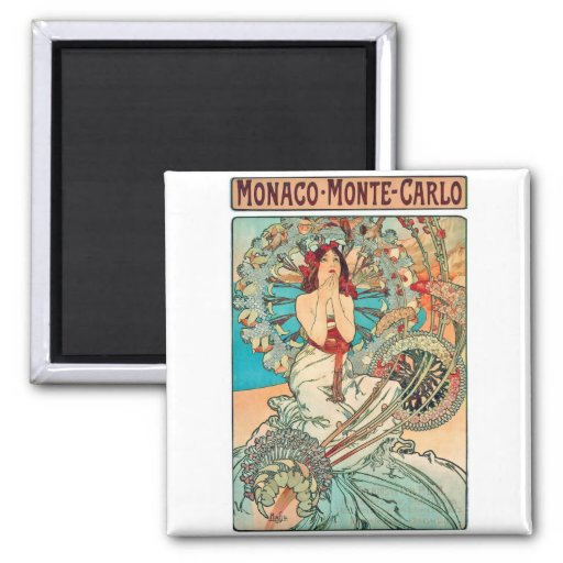 Alphonse Mucha Monaco, Monte-Carlo, 1897 Magnets