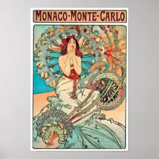 Alphonse Mucha Monaco, Monte-Carlo, 1897 Poster