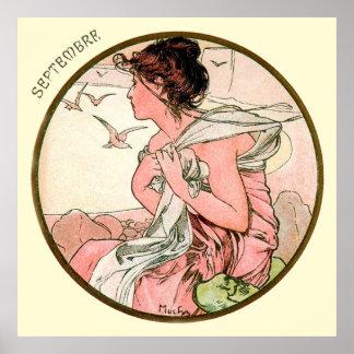 Alphonse Mucha Month Of September Poster