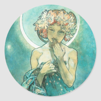 Alphonse Mucha Moonlight Clair De Lune Art Nouveau Classic Round Sticker