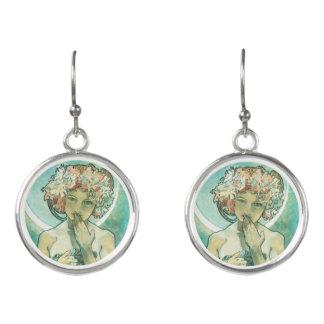 Alphonse Mucha Moonlight Clair De Lune Art Nouveau Earrings