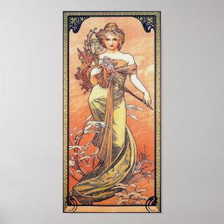Alphonse Mucha Painting - Woman Holding Flowers Poster