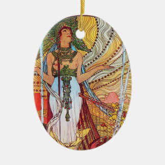 Alphonse Mucha Peacock art Ornaments