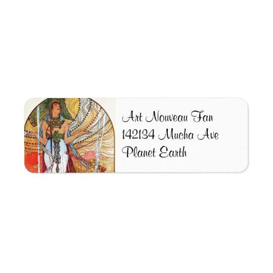 Alphonse Mucha Peacock art Return Address Label