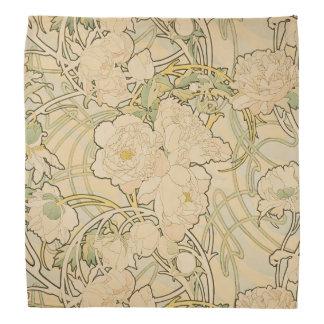 Alphonse Mucha Peonies Peony Roses Fawn 1897 Bandana