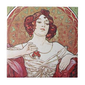 Alphonse Mucha Ruby Small Square Tile