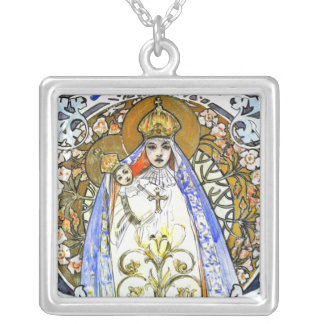 Alphonse Mucha - Savon Notre Dame - Religious Art Silver Plated Necklace