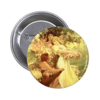Alphonse Mucha Spirit of Spring Button