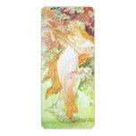 Alphonse Mucha Spring Floral Vintage Art Nouveau 10 Cm X 24 Cm Invitation Card