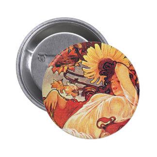 Alphonse Mucha Sunflower Buttons