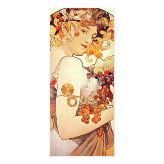 "Alphonse Mucha Vintage Art 4"" X 9.25"" Invitation Card"