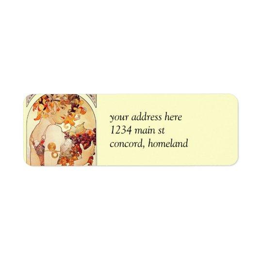 Alphonse Mucha Vintage Art Return Address Label