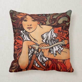 Alphonse Mucha Vintage Bicycle Pillow
