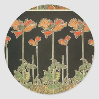 Alphonse Mucha Vintage Popular Art Nouveau Poppies Classic Round Sticker