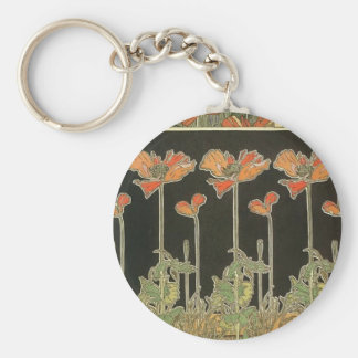 Alphonse Mucha Vintage Popular Art Nouveau Poppies Key Ring