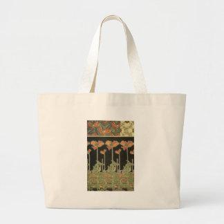 Alphonse Mucha Vintage Popular Art Nouveau Poppies Large Tote Bag
