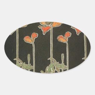 Alphonse Mucha Vintage Popular Art Nouveau Poppies Oval Sticker