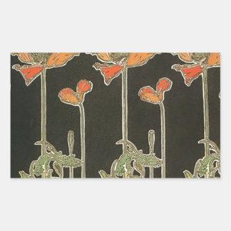 Alphonse Mucha Vintage Popular Art Nouveau Poppies Rectangular Sticker