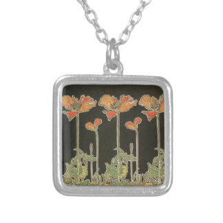 Alphonse Mucha Vintage Popular Art Nouveau Poppies Silver Plated Necklace