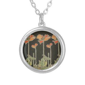 Alphonse Mucha Vintage Popular Art Nouveau Poppies Silver Plated Necklace