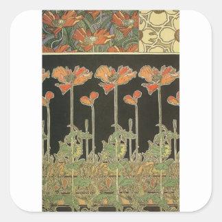 Alphonse Mucha Vintage Popular Art Nouveau Poppies Square Sticker