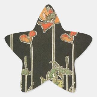 Alphonse Mucha Vintage Popular Art Nouveau Poppies Star Sticker