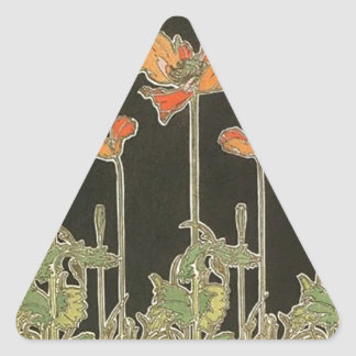Alphonse Mucha Vintage Popular Art Nouveau Poppies Triangle Sticker