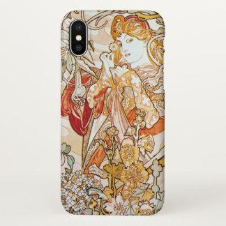 Alphonse Mucha Woman with a Daisy Art Nouveau iPhone X Case
