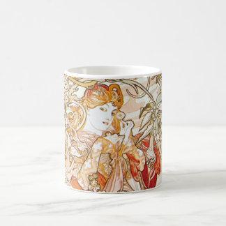 Alphonse Mucha Woman With Daisy Art Nouveau Mug