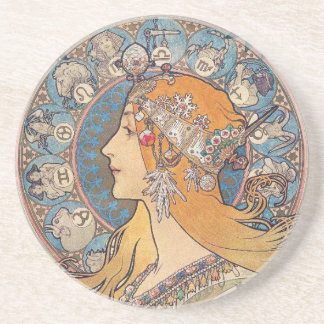 "Alphonse Mucha, ""Zodiac"" Beverage Coasters"