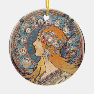 "Alphonse Mucha, ""Zodiac"" Ceramic Ornament"