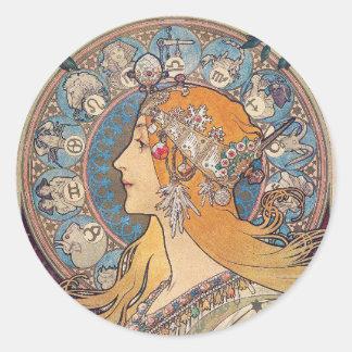 "Alphonse Mucha, ""Zodiac"" Classic Round Sticker"