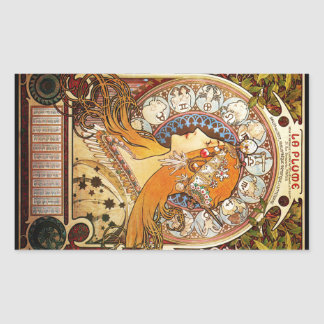 Alphonse Mucha Zodiac Rectangular Sticker