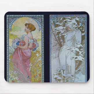 """Alphonse Mucha's """"Summer and Winter"""" Mouse Pad"""