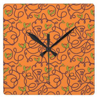 Alphonzia - Tangled Vines Square Wall Clock