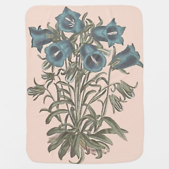 Alpine Bell Flower Botanical Illustration Baby Blanket