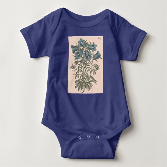 Alpine Bell Flower Botanical Illustration Baby Bodysuit