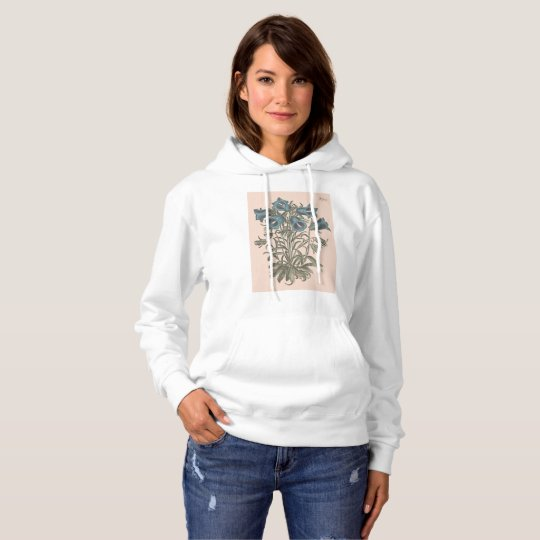Alpine Bell Flower Botanical Illustration Hoodie
