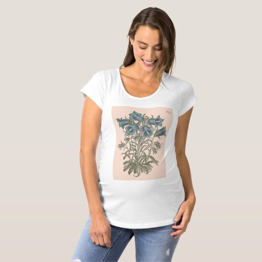 Alpine Bell Flower Botanical Illustration Maternity T-Shirt