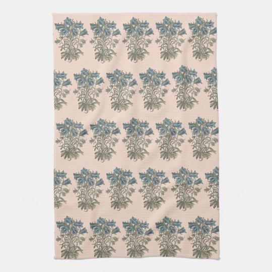 Alpine Bell Flower Botanical Illustration Tea Towel