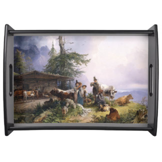 Alpine Chalet Cabin Family Singing Serving Tray