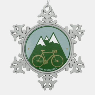 alpine cold mountain bike snowflake pewter christmas ornament