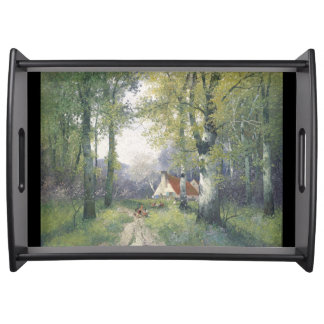 Alpine Cottage Woods Trees Flowers Serving Tray