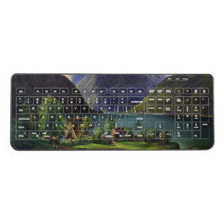 Alpine Lake Alps Cabin Mountains Wireless Keyboard