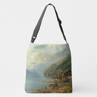 Alpine Lake Cabin Alps Mountains Boats Tote Bag