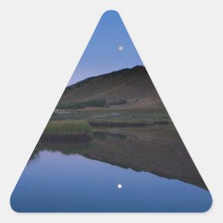 Alpine Lake Reflecting Moon Triangle Sticker