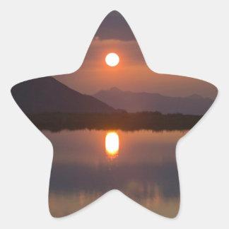 Alpine Lake Sunset Star Sticker